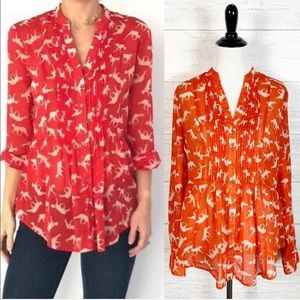 Maeve • Red Cat Print Pintuck Button Down Top 2